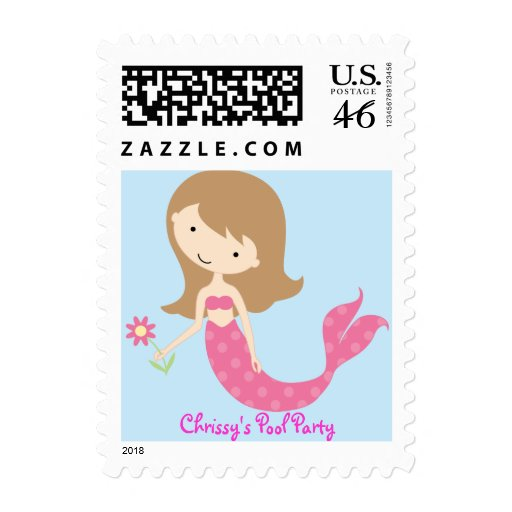 KRW Cute Pink Mermaid Custom Birthday Party Postage Stamps
