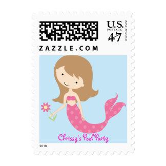 KRW Cute Pink Mermaid Custom Birthday Party Postage Stamp