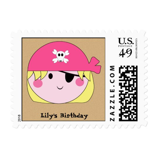 KRW Cute Pink Pirate Custom Stamp