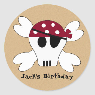 KRW Cute Pirate Skull and Crossbone Birthday Stickers