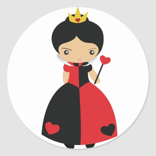KRW Cute Queen of Hearts Classic Round Sticker