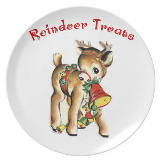 KRW Cute Retro Reindeer Treats Plate