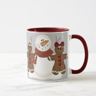 KRW Cute Snowman and Gingerbread Couple Mug