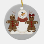 KRW Cute Snowman and Gingerbread Couple Ornament
