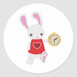 KRW Cute Wonderland White Rabbit Classic Round Sticker