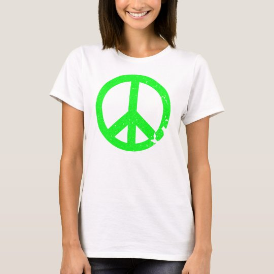 KRW Distressed Neon Green Peace Sign T-Shirt
