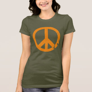 KRW Distressed Orange Peace Sign T-Shirt