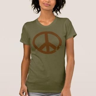 KRW Distressed Orange Peace Sign Tee Shirt