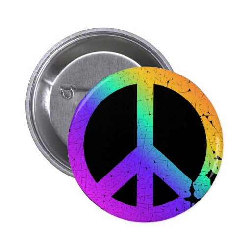 KRW Distressed Rainbow Peace Sign Buttons