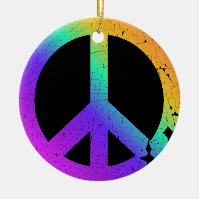KRW Distressed Rainbow Peace Sign Ornament