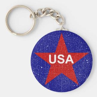 KRW Distressed Red Star USA Key Chains
