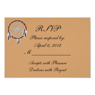 KRW Dreamcatcher Native American Wedding RSVP 3.5x5 Paper Invitation Card