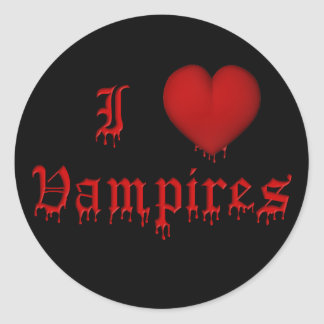 KRW Dripping Blood I Love Vampires Classic Round Sticker