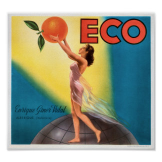 KRW Eco Oranges Vintage Fruit Crate Label Poster