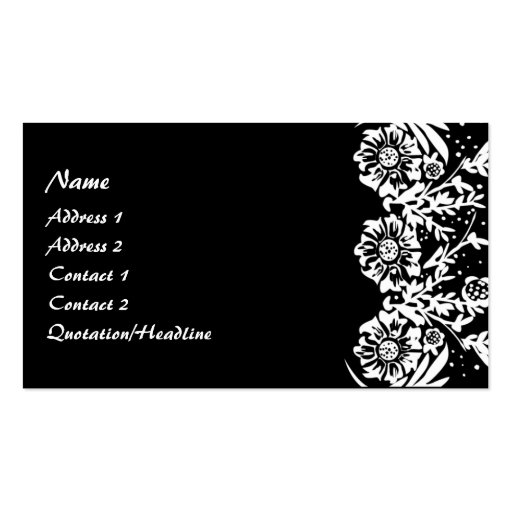 KRW Elegant Black and White Floral Custom Double-Sided ...