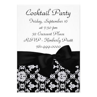 KRW Elegant Black Damask Cocktail Party Invitation