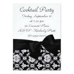 "KRW Elegant Black Damask Cocktail Party Invitation 5"" X 7"" Invitation Card"