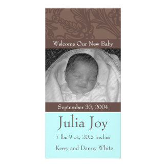 KRW Elegant Blue Custom Photo Birth Announcement