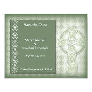 Krw Elegant Celtic Cross Irish Save The Date Card at Zazzle