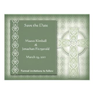 KRW Elegant Celtic Cross Irish Save the Date Announcements