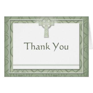 KRW Elegant Celtic Cross Irish Thank You Note Card