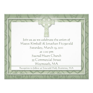 KRW Elegant Celtic Cross Irish Wedding Custom Announcement