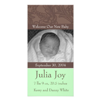 KRW Elegant Green Custom Photo Birth Announcement