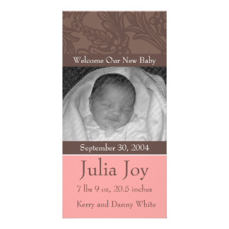 KRW Elegant Pink Custom Photo Birth Announcement