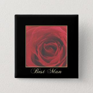 KRW Elegant Red Rose Best Man Pin
