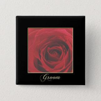 KRW Elegant Red Rose Groom Pin