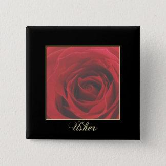KRW Elegant Red Rose Usher Pin