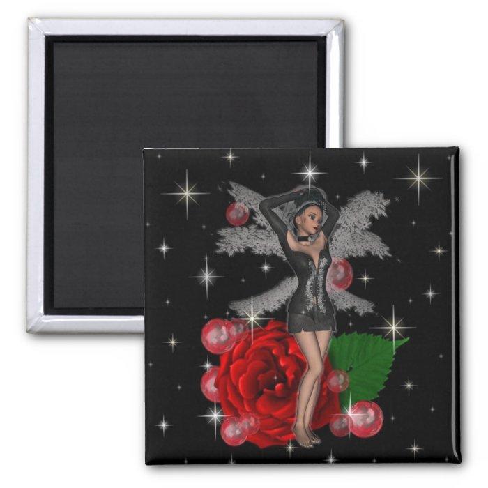 KRW Elegant Rose Faery 2 Inch Square Magnet