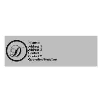 KRW Elegant Script Monogram D Profile Card Double-Sided Mini Business Cards (Pack Of 20)