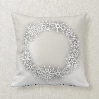 KRW Elegant Snowflake Wreath Christmas Pillow