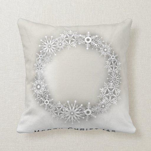 Zazzle KRW Elegant Snowflake Wreath Christmas Pillow