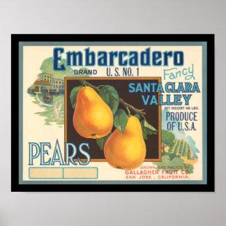 KRW Embarcadero Pears Vintage Crate Label Poster
