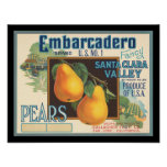 KRW Embarcadero Pears Vintage Crate Label Posters