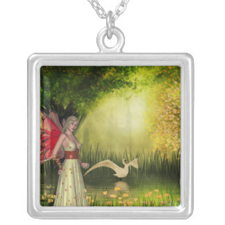 KRW Enchanted Swan Fairy Fantasy Silver Necklace
