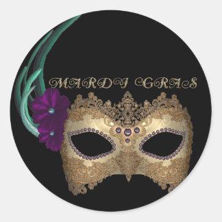 KRW Fancy Mardi Gras Mask Classic Round Sticker