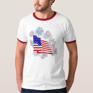 KRW Fireworks Flag Patriotic Tee Shirt