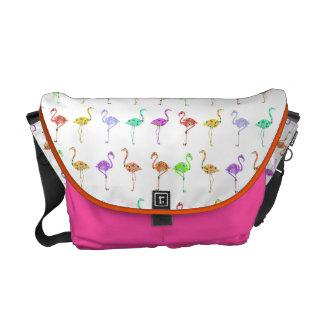KRW Flock of Floral Flamingos Med Messenger Bag
