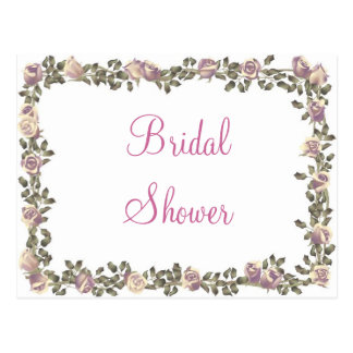 KRW Floral Border Custom Bridal Shower Invitation Postcard