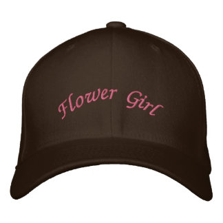 KRW Flower Girl Script Pink and Brown Embroidered Hats