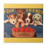 KRW Four Friends Vintage Tomato Crate Label Small Square Tile