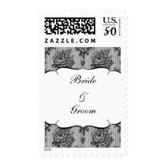 KRW French Black Lace Custom Bride and Groom Postage