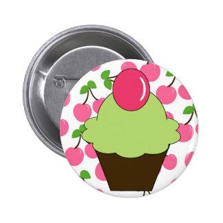 KRW Fun Green Cupcake with Cherries Pinback Button