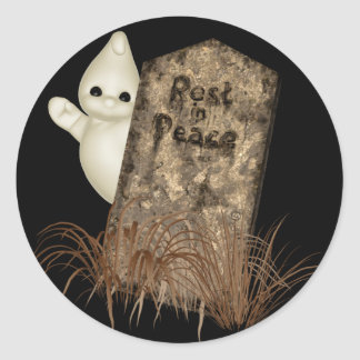KRW Ghostly Tombstone Halloween Classic Round Sticker