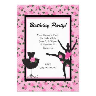 KRW Girls Ballet Rose Birthday Party Invitation