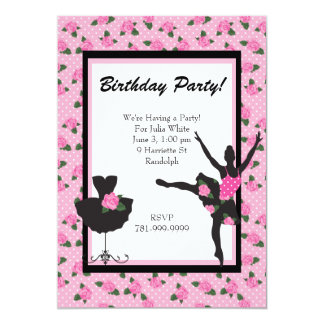 KRW Girls Ballet Rose Birthday Party Invitation