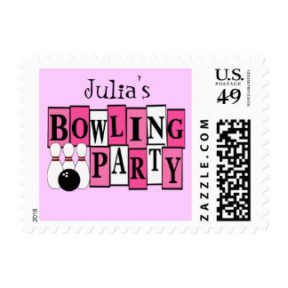 KRW Girl's Bowling Party Custom Name Stamp